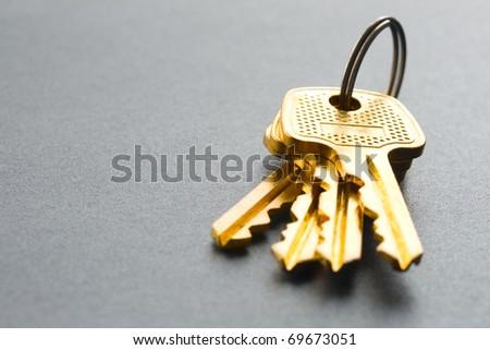 Bunch of keys isolated on grey - stock photo