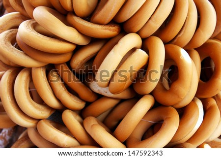 bunch of national russian bagels - stock photo