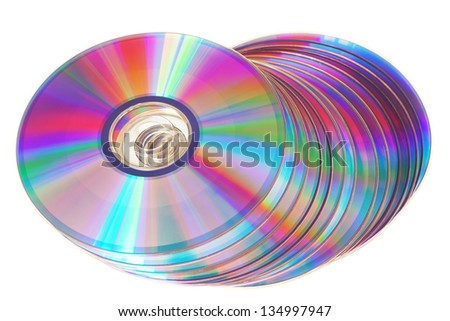 Bunch of new colorful cd drive. Close-up on a white background. - stock photo