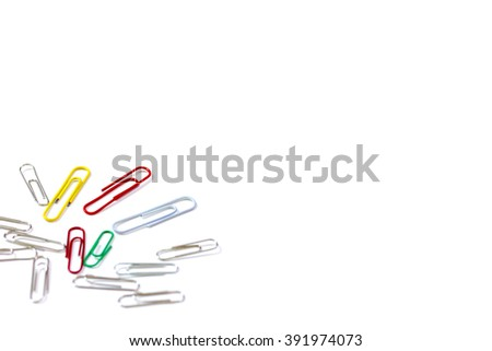 Bunch of paper clips isolated on white background - stock photo