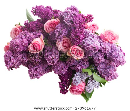 Bunch of purple Lilac flowers with pink roses isolated on white background - stock photo