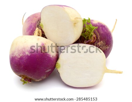 bunch of purple turnips isolated on a white background. - stock photo