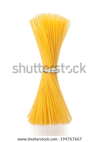 bunch of raw pasta spaghetti on white background, typical italian cuisine - stock photo