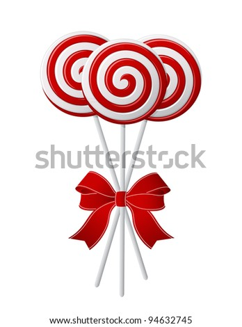 Bunch of Red and White candies with red ribbon - stock photo