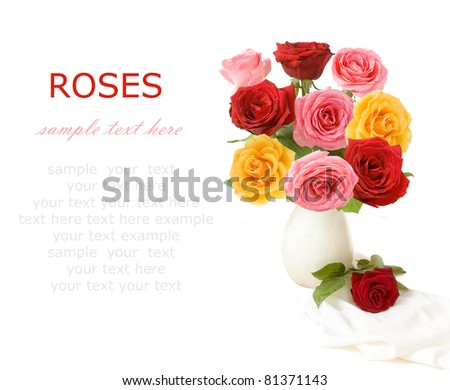 Bunch of red, pink and yellow roses in vase isolated on white with sample text - stock photo