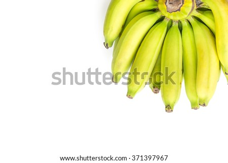 Bunch of ripe bananas  on white background - stock photo
