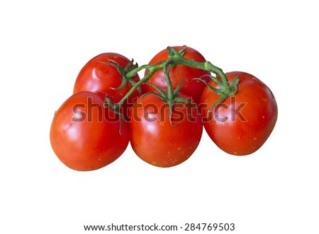 Bunch of ripe red tomatoes on isolated background - stock photo