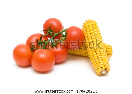 bunch of ripe tomatoes and two corn cob closeup on a white background. horizontal photo. - stock photo