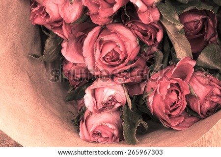 Bunch of roses flowers. Vintage style. - stock photo