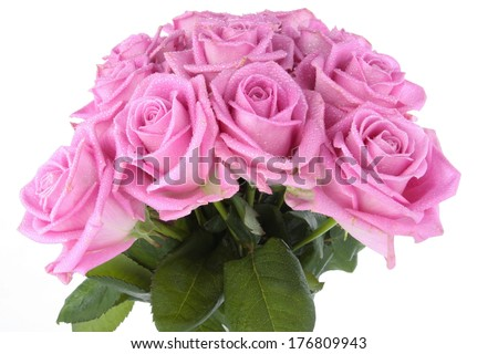 Bunch of roses over white background - stock photo