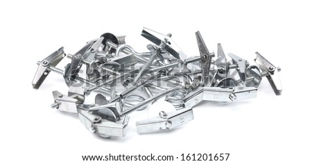 Bunch of screw-ring ancor. Isolated on a white background. - stock photo