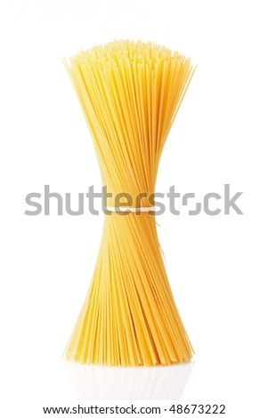Bunch of spaghetti isolated on white background. - stock photo