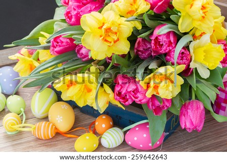 bunch of spring pink  tulips and yellow daffodil flowers with easter eggs  - stock photo