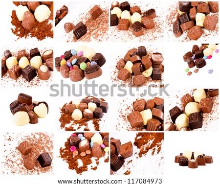 Bunch of sweet Belgian pralines - stock photo
