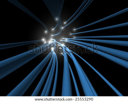 Bunch of the blue optical fibers finding it's way in dark. For other similar images from the series, please, check my portfolio. - stock photo