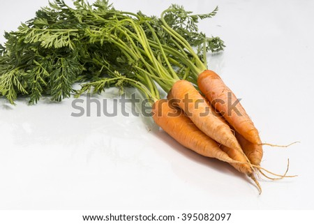 Bunch of the fresh carrots isolated on white background - stock photo