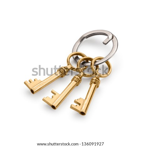 Bunch of three old keys with soft shadows. Isolated on white with clipping path. - stock photo