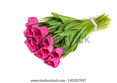 Bunch of tulips isolated on a white background - stock photo