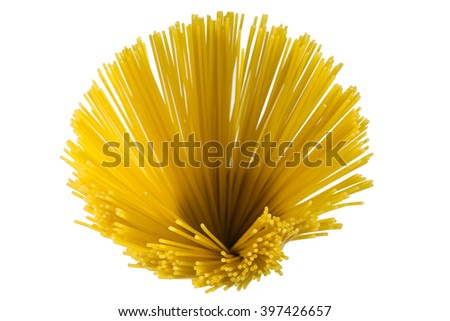 bunch of uncooked spaghetti pasta, shallow depth of field with focus on front - stock photo