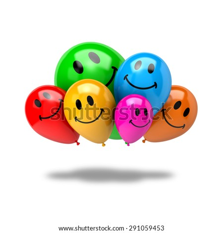 Bunch of Vibrant Color Balloons with Smiling Face Isolated on White Background 3D Illustration, Friendship Concept