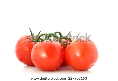 Bunch of wet tomatoes on a white background - stock photo