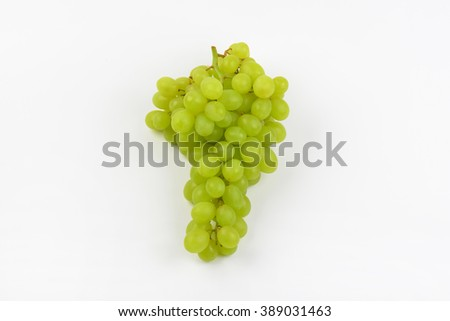 bunch of white grapes on white background - stock photo