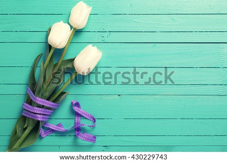 Bunch of white tulips flowers with violet ribbon on turquoise wooden background. Flat lay with copy space. Selective focus. Toned image. - stock photo