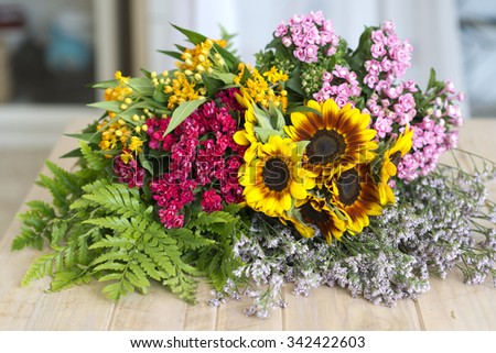 Bunch summer flowers with sunflowers - stock photo