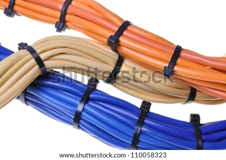 Bunches of network cables in office networks - stock photo