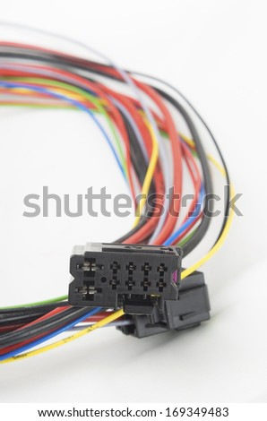 bundle of car electrical connectors - stock photo