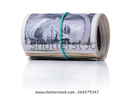 bundle of dollars banknotes on white background  - stock photo