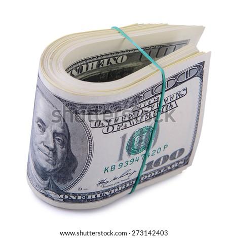 bundle of dollars banknotes on white background  - stock photo