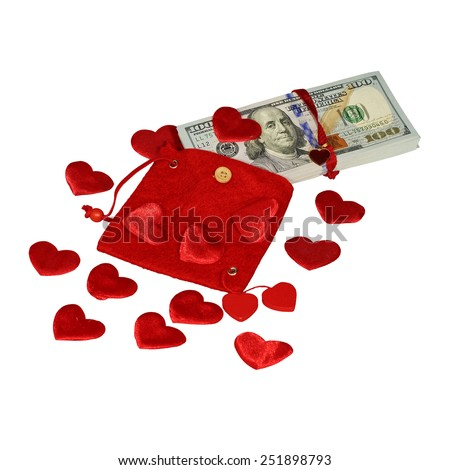 Bundle of dollars in red purse with red hearts and red bow knot isolated - stock photo