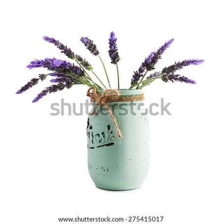 bundle of lavender flowers in retro vase isolated on white background - stock photo
