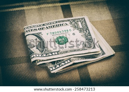Bundle of money close up. One dollar banknotes - stock photo