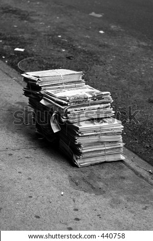bundle of news papers - stock photo