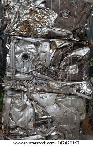 Bundled metal bale for recycling vertical - stock photo
