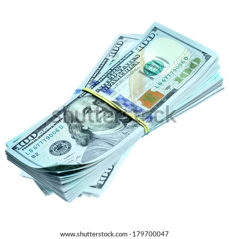 Bundles of dollars isolated over the white background - stock photo