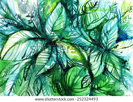 bundles of green leaves/ watercolor illustration - stock photo