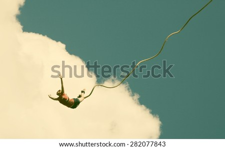 Bungee jumping - retro style photo - stock photo