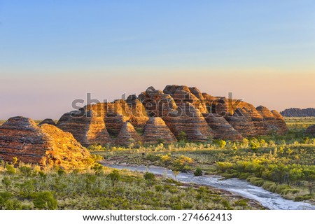 Bungle Bungles National Park just before sunset. - stock photo