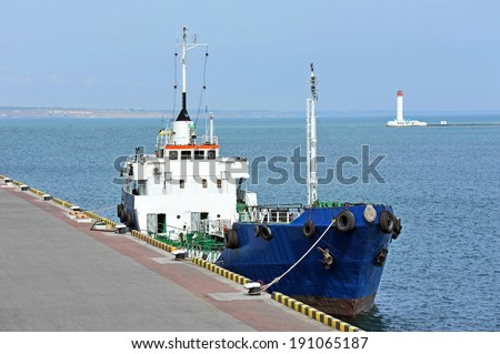 Bunker ship (fuel replenishment tanker) in port of Odessa, Ukraine - stock photo