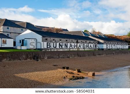 Bunnahabain distillery on Islay, Scotland - stock photo