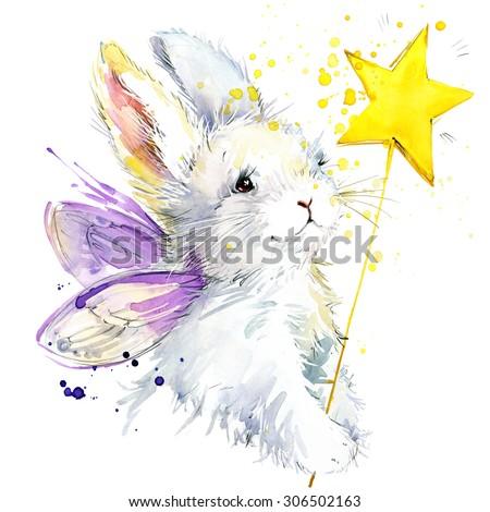 bunny fairy T-shirt graphics. bunny fairy illustration with splash watercolor textured background. unusual illustration watercolor bunny fairy for fashion print, poster, textiles, fashion design - stock photo