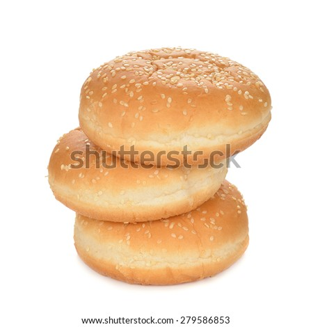 Buns for burgers isolated on white background - stock photo