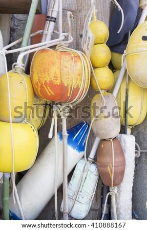 Buoy,rope,fishing nets - stock photo