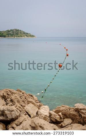 Buoys on the adriatic sea croatia - stock photo