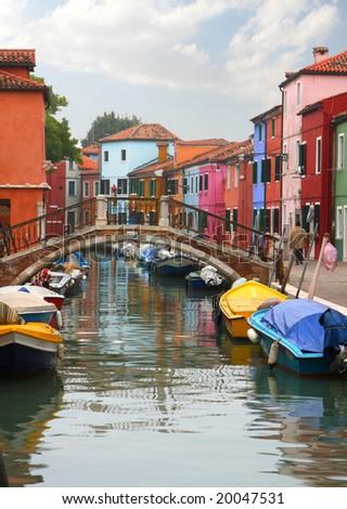 Burano colorful houses - stock photo