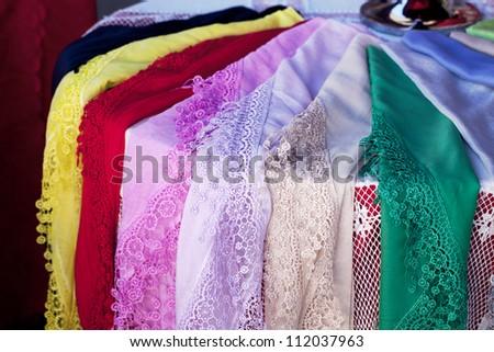 Burano lace scarf - stock photo