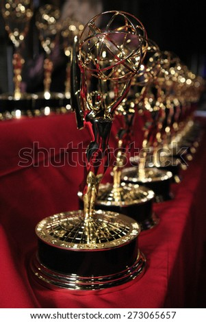 BURBANK - APR 26: Emmy Statues at the 42nd Daytime Emmy Awards Gala at Warner Bros. Studio on April 26, 2015 in Burbank, California - stock photo